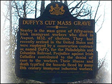 Sign for Duffy's Cut mass grave