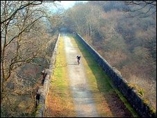 Cyclist on the Pontsarn viaduct.  Photo by Reg Criddle.