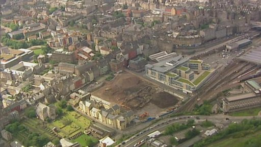 Aerial view of Caltongate site