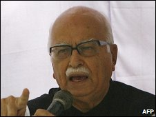 Bharatiya Janta Party (BJP) leader L. K. Advani gestures as he addresses protesting Indian military veterans in New Delhi on March 19, 2009,