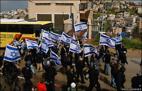 March of flag-waving Israeli-Jews in Umm al-Fahm