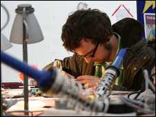 Soldering at the Maker Faire