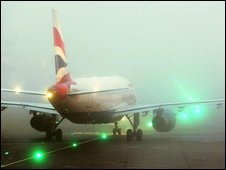 BA aircraft in fog