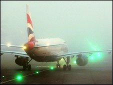 BA aircraft in fog