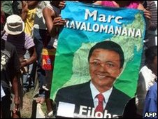 Pro-Ravalomanana demonstrators in Antananarivo on 23 March 2009