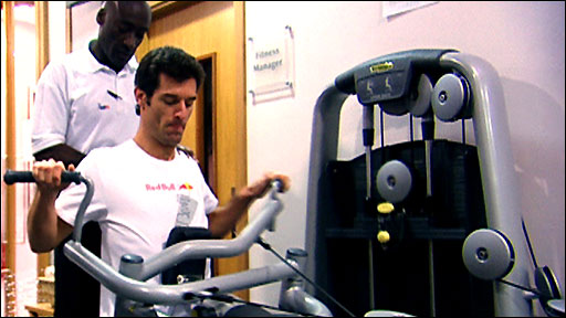 Mark Webber during his rehabilitation from a broken leg