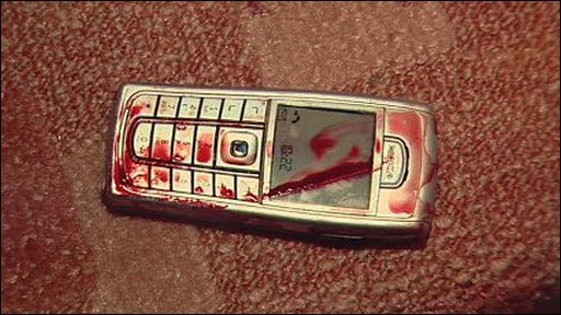 Blood stained phone