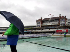 Oval cricket ground in the rain
