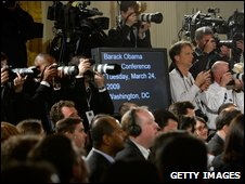 Journalists at White House press conference
