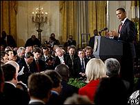 Barack Obama durante la conferencia de prensa en Washington