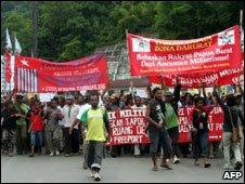 Pro independence protests, Jayapura, West Papua Indonesia 24 Mar 09