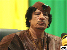 Libyan leader and African Union chairman Muammar Gaddafi in the Mauritanian capital Nouakchott earlier this month