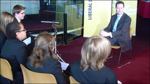 Nick Clegg with School Reporters