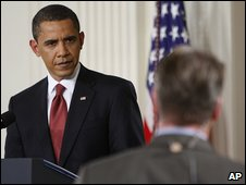 Barack Obama fields a question at the White House