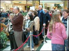 People queue at the BBC's Money Matters roadshow in Manchester