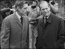 L-R: Gerard Morgan-Grenville with Prince Philip in 1974