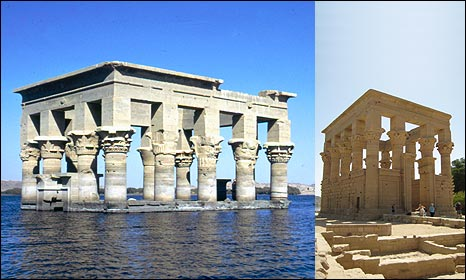 Kiosk of Trajan at Philae, seen under water in 1972 (copyright: Unesco) in its new location