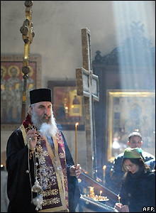 Georgian Orthodox priests conducts service in Sioni cathedral in Tbilisi, Georgia