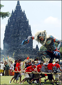 Parade of Hindu Ogoh-Ogoh statue at Prambanan temple, Indonesia