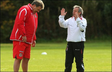 Wales manager John Toshack and Welsh youth coach Brian Flynn