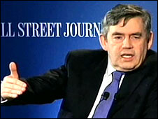 Gordon Brown talking in the US: Pic courtesy WSJ.com