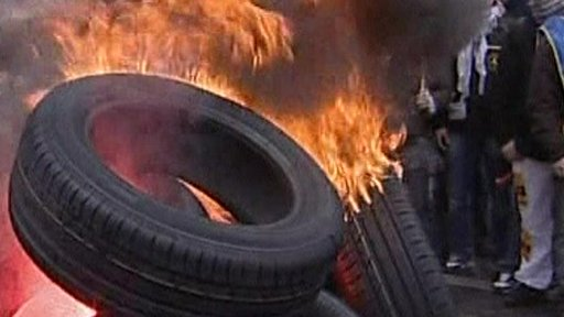 Burning tyre
