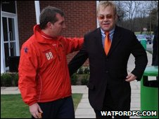 Sir Elton John with close friend, Hornets director Graham Taylor
