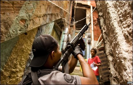 A riot police agent in Rio de Janeiro's Rocinha shantytown