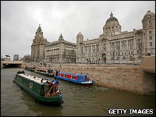 Narrowboats on Liverpool waterfront