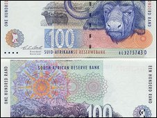 South Africa 100 rand bank notes