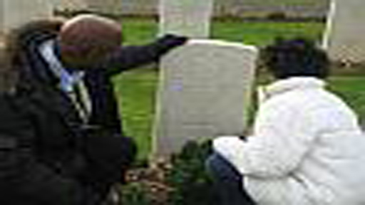Family members at grave