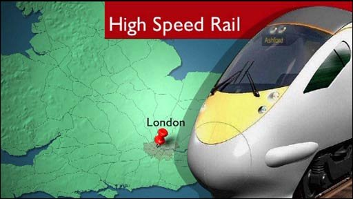 Computer generated high speed rail map