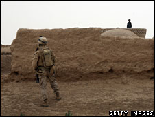 A US marine on patrol in south-west Afghanistan