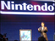 Satoru Iwata at the launch