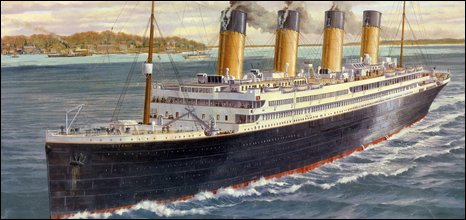 Limited edition print of the Titanic off Cowes, Isle of Wight, auctioned by Millvina Dean on 18 April