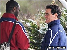 England boss Fabio Capello (right) wanted to see Ledley King's injury for himself 