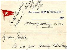 Letter written on the Titanic