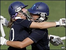 Holly Colvin, left, and Nicky Shaw celebrate