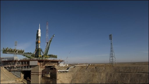 Nasa photo of Soyuz rocket at the Baikonur Cosmodrome in Kazakhstan