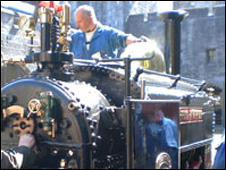 Dafydd Roberts assistant custodian in the railway museum with the Hugh Napier (picture: National Trust)