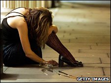 drunken girl in street