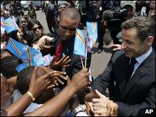 French President Nicolas Sarkozy in Kinshasa on 26 March 2009