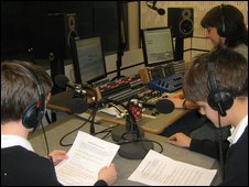 pupils from the Charter School in radio studio