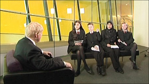 Boris Johnson with school pupils