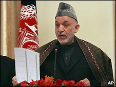 Hamid Karzai at Kabul news conference - 26/3/2009