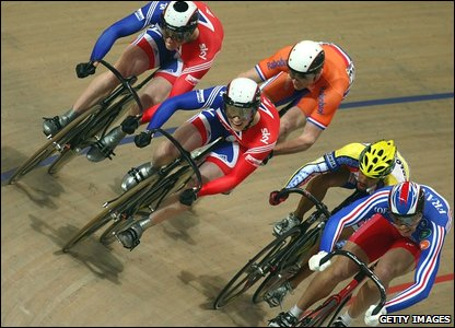 Action from the keirin repechages