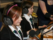 Students in Hamilton, Lanarkshire, presenting their 1400 radio bulletin