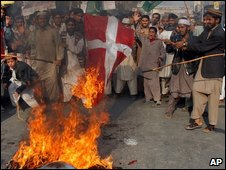 Pakistani protesters burn a Danish flag, Feb 2006