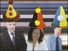 Scene from spoof video with Plaid Cymru leader Ieuan Wyn Jones, Jill Evans MEP, and Adam Price MP