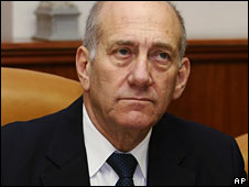 Ehud Olmert, pictured 15 March 2009